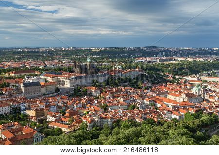 View of the Prague Castle and old buildings at the Mala Strana District (Lesser Town) in Prague, Czech Republic, from above.