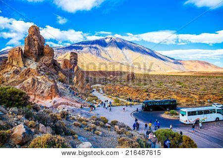 Tenerife Spain - 27 November, 2017: Aerial view over the famous Teide mountain and Garcia stone being visited by tourists from around the world in summer holiday