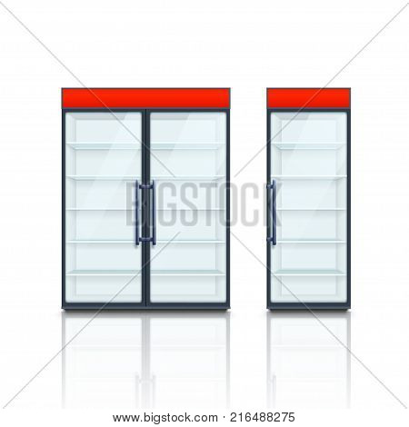 illustration of two different types of commercial fridges with red board and soft shadow on white background