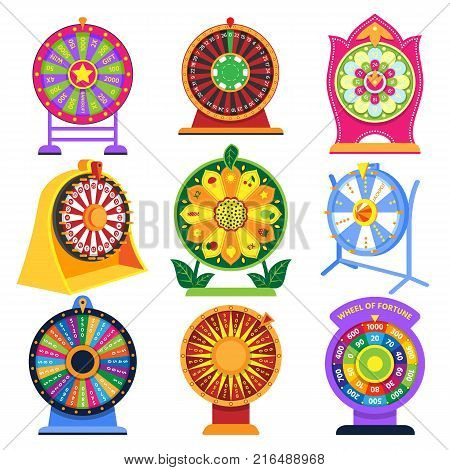 Spinning fortune wheel vector set spin game icons lucky roulette fortunate wheeled lottery casino set illustration isolated on white background.