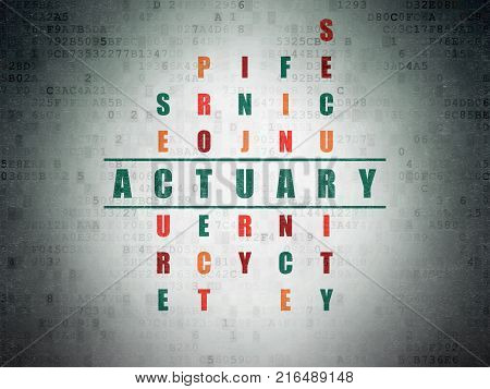 Insurance concept: Painted green word Actuary in solving Crossword Puzzle on Digital Data Paper background