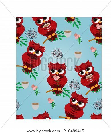 Seamless pattern Cute beautiful flirtatious red owl on a branch with a cup of steaming coffee, tea or chocolate