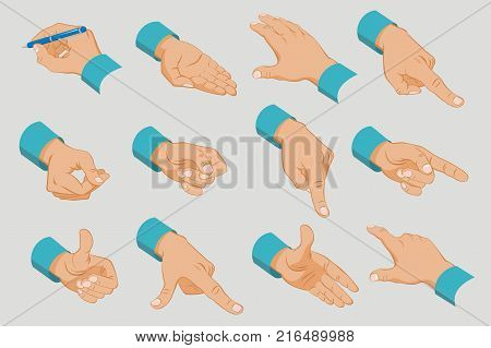 Male hands collection with different gestures and signals in isometric style isolated vector illustration