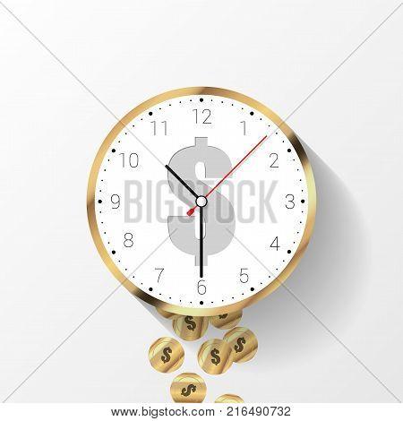 Time is money concept. Money saving. Time management. Vector illustration
