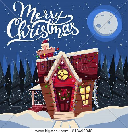 Christmas house in the snow decorated with garlands and with Santa Claus in the chimney. Vector cartoon holiday illustration of a winter landscape greeting card banner poster etc.