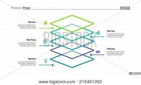 Level diagram with five elements. Step chart, graph, layout. Creative concept for infographics, presentation, project, report. Can be used for topics like business, workflow, organization