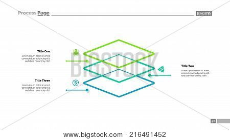 Level diagram with three elements. Step chart, graph, layout. Creative concept for infographics, presentation, project, report. Can be used for topics like business, workflow, organization