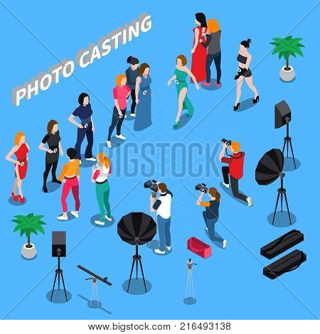 Photo casting isometric composition  with girl models, photographers with professional equipment on blue background 3d vector illustration