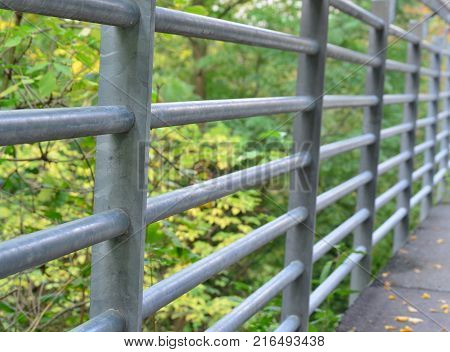 Detail of a metal railing on a bridge the city of Horn Austria