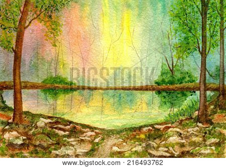 Lake in the forest, the trees penetrated by sunlight, stony coast. Hand-painted watercolor illustration and paper texture