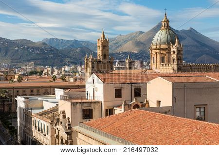 Panorama Of The City Of Palermo In Sicily, Italy