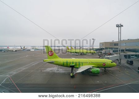 Moscow, Russia - February 04, 2017: Airplane of S7 airlines preparing for flight in Domodedovo airport.