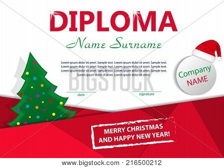 Christmas template diploma or certificate. New year reward with Christmas tree and Santa hat. Vector illustration.
