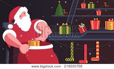 Happy Merry Santa Claus with presents and christmas deer. Christmas vector composition.  Happy characters. Christmas illustration. -stock vector