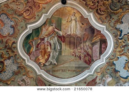 Our Lady bestows the Scapular upon St. Simon Stock