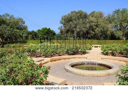 Rose garden, Park Ramat Hanadiv, Israel. The park is a family vault of Baron Edmond de Rothschild (1845-1934) and Baroness Adelaide de Rothschild (1853-1935)