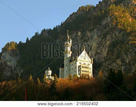 Stunning Neuschwanstein in the Autumn Sunlight, Bavaria, Germany