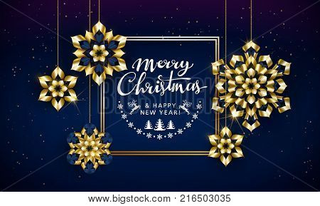 Merry Christmas and Happy New Year text. Calligraphic Lettering. New year and Xmas Holidays design. Vector illustration.