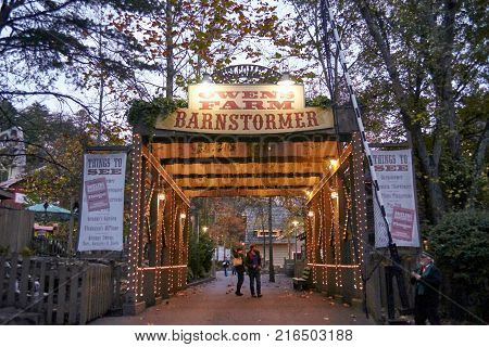 PIGEON FORGE, TENNESEE- NOVEMBER 15,2017: Barnstormer entrance, Location Dollywood Theme park.