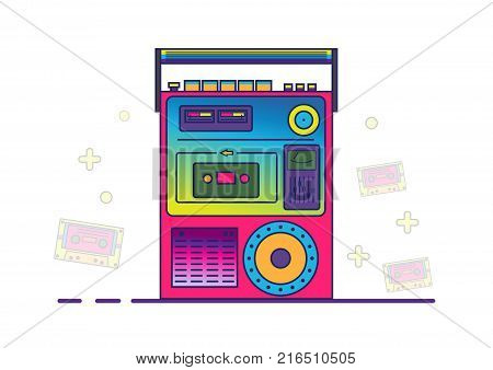 Retro boombox in 80's-90's trendy style. Colorful illustration on white background in filled outline style