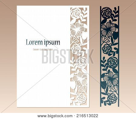 Card with openwork floral border and space for text. Laser cutting template for greeting cards envelopes invitations decorative elements.