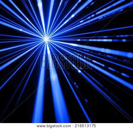 Blue laser beam light effect on black background.