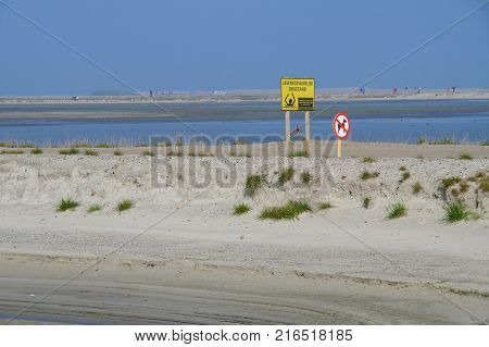 Marker Wadden, Lelystad, The Netherlands - September 24, 2017: Visitors Day at Dutch land winning construction site Marker Wadden. Marker Wadden are artificial islands.