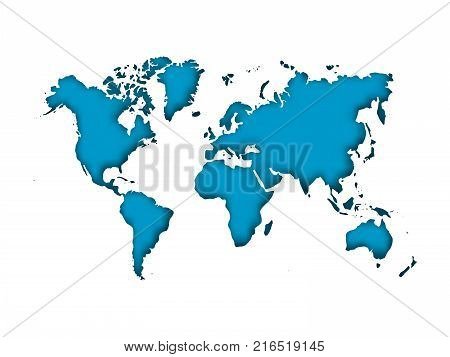 Map of World cut into paper with inner shadow isolated on blue background. Vector illustration with 3D effect.