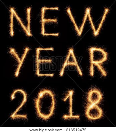 NEW YEAR 2018 lettering drawn with bengali sparkles isolated on black background poster