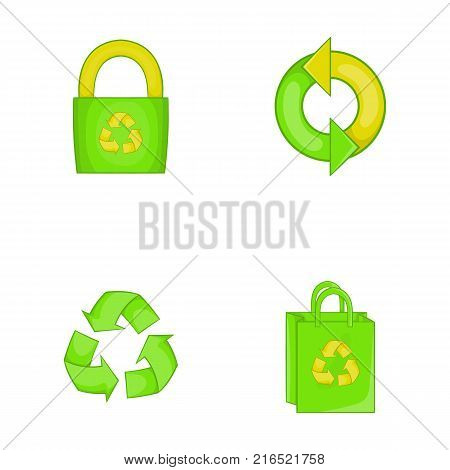 Recycle material icon set. Cartoon set of recycle material vector icons for your web design isolated on white background