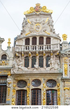 Le Cornet - one of the Guildhalls on the Grand Place - Grote Markt is the central square of Brussels. Belgium.