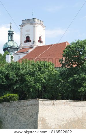 Bishop's Castle Behind the High Wall in Gyor City