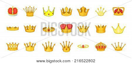 Crown icon set. Cartoon set of crown vector icons for your web design isolated on white background