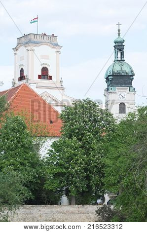 Castle and Episcopal Cathedral Tower Landmark in Gyor City Closeup