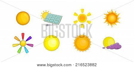 Sun icon set. Cartoon set of sun vector icons for your web design isolated on white background