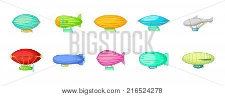 Airship icon set. Cartoon set of airship vector icons for your web design isolated on white background