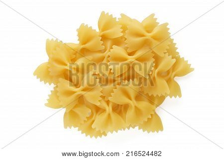 Pile Pasta Farfalle on a white background isolated