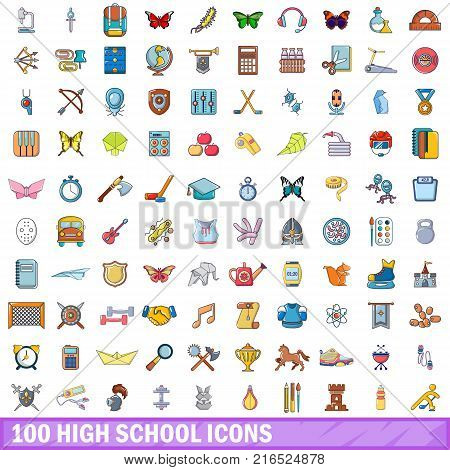 100 high school icons set. Cartoon illustration of 100 high school vector icons isolated on white background