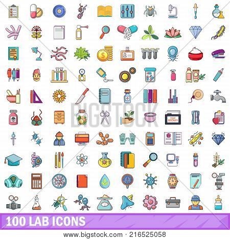 100 lab icons set. Cartoon illustration of 100 lab vector icons isolated on white background