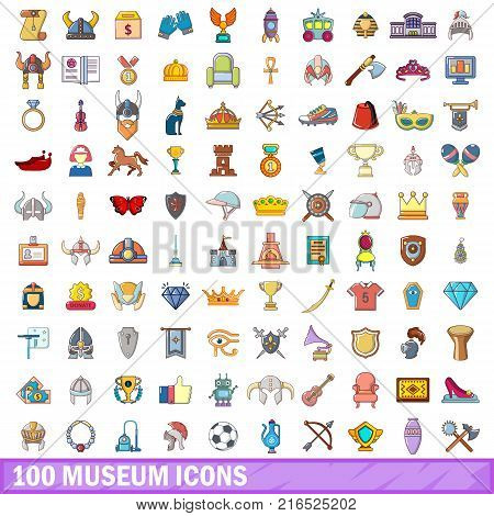 100 museum icons set. Cartoon illustration of 100 museum vector icons isolated on white background