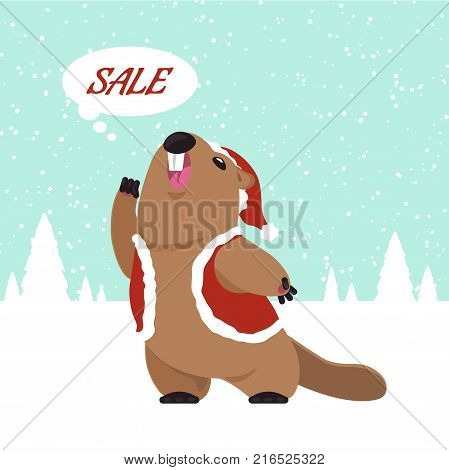 Postcard Vector groundhog screams out slogan. Funny groundhog predicts that will soon sale