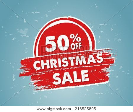 50 percent off christmas sale - text in red blue drawn banner business holiday shopping concept