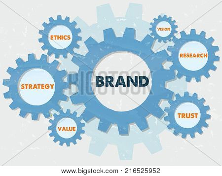 brand strategy ethics value vision research trust - words in grunge flat design gear wheels infographic business conception