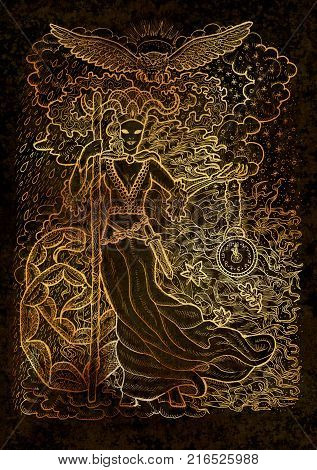 November month graphic concept. Hand drawn engraved illustration on black texture. Scary queen of Autumn with clock in skeleton hand against the background of rain and snow