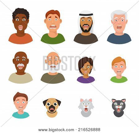 Scared people face vector frightened characters scary in panic and afraid nervous man, boy, cat and dog animals facial illustration isolated on white background.