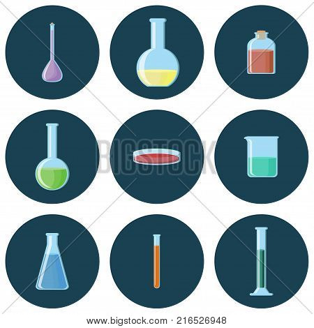 Chemical glassware. Flasks, beakers, tubes, bottles, petri dish set of icons. Vector illustration in flat style with long shadows.