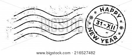 New Year post rubber stamp isolated on white. Text Happy New Year with date. Vector