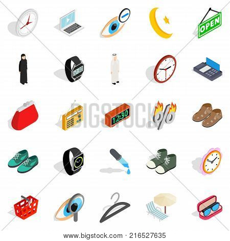Brand name icons set. Isometric set of 25 brand name vector icons for web isolated on white background