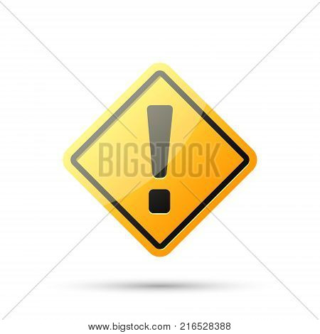 Exclamation danger sign. Hazard warning attention yellow sign with exclamation mark symbol. Vector isolated realistic rhombus sign.