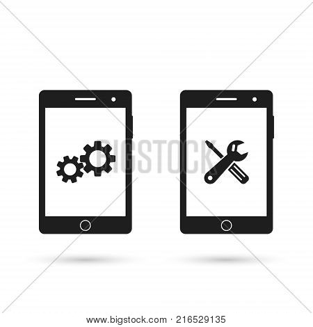 Mobile phone repair icon. Smartphone repairing logo set. Technical support cellphone repair service. Vector isolated illustration.